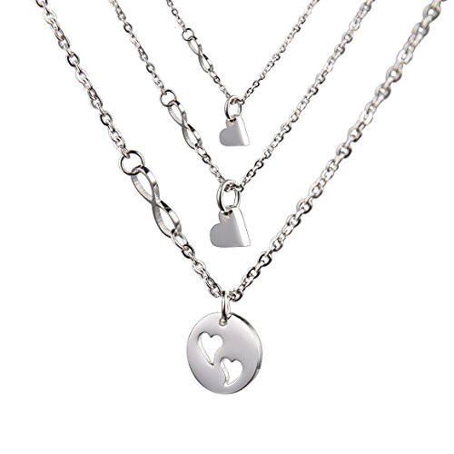 O.RIYA Mother's Day Necklaces Set , Round Design with Heart Pendant (Grey)