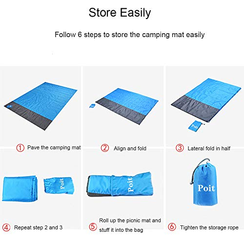 Poit Large Packable Picnic Mat Blanket, Camping Mat Blanket, Outdoor Blanket Mat, Beach Blanket Mat, 79''×83''