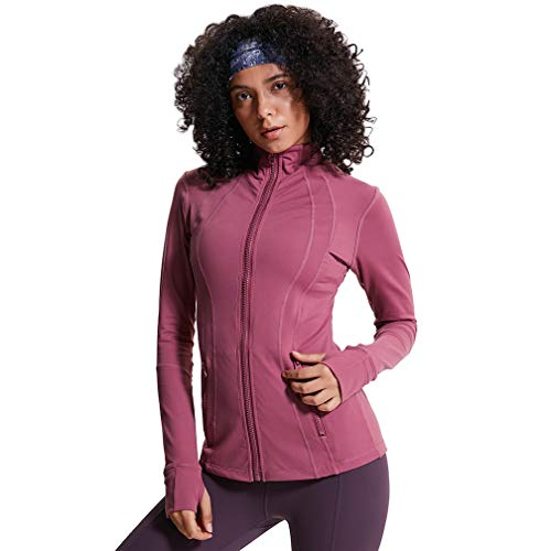 TERODACO Women's Sports Track Jacket Full Zip Sweatshirts Lightweight Thick Yoga Workout Jacket Plum Red