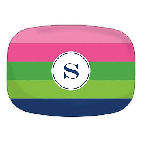 Boatman Geller Bold Stripe Melamine Platter with Single Initial, Y, Multicolored