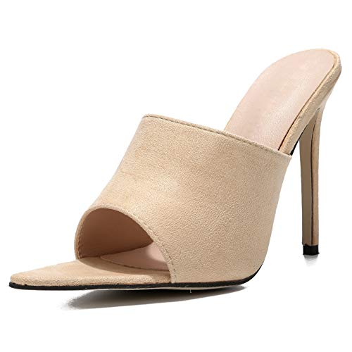 Slides High Sexy Heel - fereshte Women's Sexy Pointy Toe Slide Mules Sandals Stiletto High Heels A# Apricot EU40