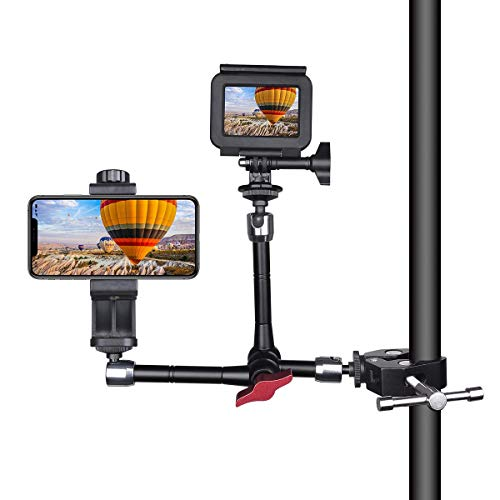 Double-Head DSLR Camera Magic Arm Articulating Israeli Friction Arm Video Rig Camera Clamp Mount Holder Compatible for Sony Canon Nikon GoPro Action Camera+ Smartphone+LED/Flash Light/LCD Monitor ()