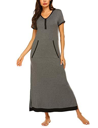 Ekouaer Women's V Neck Long Nightgown Sleeveless Nightdress with Pocket