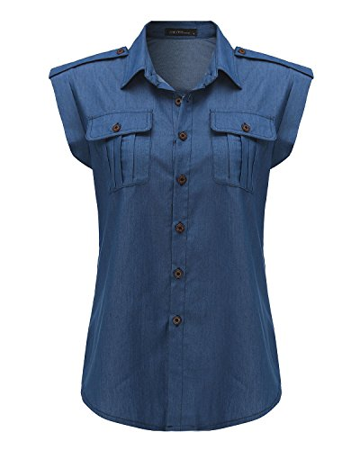 StyleDome Camiseta Chaleco Camisa sin Mangas Casual Algodón Oficina Playa Botones para Mujer Azul Royal