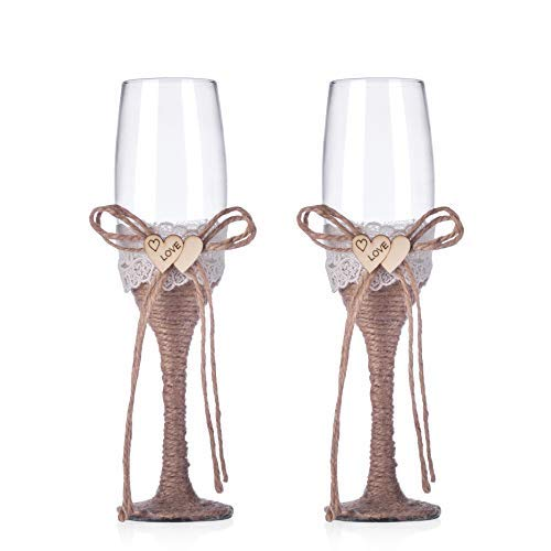 Burlap Wedding Decorations (Rustic Wedding Toast Champagne Flutes Bride and Groom Glasses Natural Burlap Twine Wood Heart Rustic Wedding Decoration(Set of 2) (Wood)