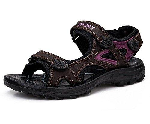 KUKI Sandalen Damen Sommerschuhe große Größe Klettverschluss rutschfeste Sport flache Sandalen 2