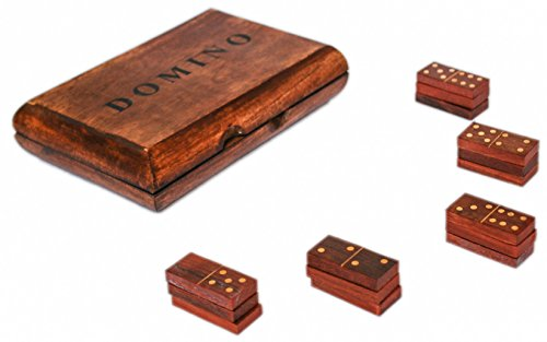 "GoCraft Handmade Wooden Dominoes Set Tile Game with Storage Box - 6"" X 4"""