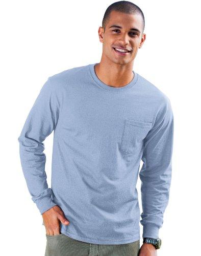 Hanes TAGLESS 6.1 Long Sleeve w/ Pocket light blue XL. (T-shirt Long Pocket Sleeve)