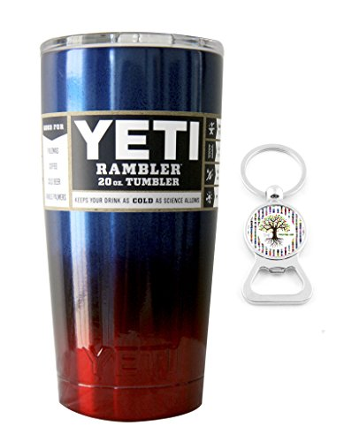 YETI Coolers Custom Powder Coated Insulated Stainless Steel 20 Ounce (20 oz) (20oz) Rambler Tumbler with Lid (Blue Red Ombre)
