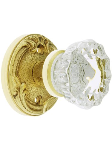 Lafayette Rosette (Lafayette Rosette Door Set With Fluted Crystal Knobs, In 7 Finishes)