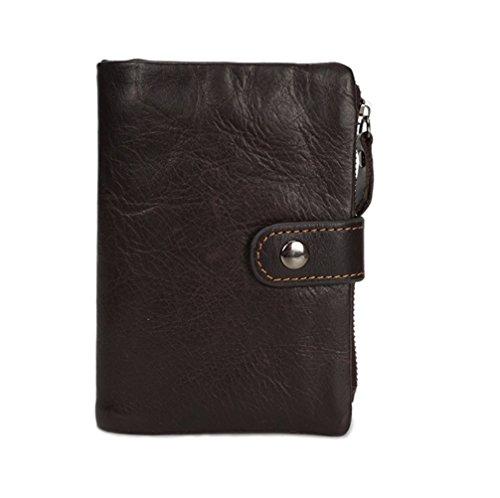 Männer Öl Wachs Haut kurze Brieftasche manuelle Reißverschluss Snap Vintage Trend Brieftasche Casual Leder Herren Tasche ZYXCC Brown oFzECTQB0W