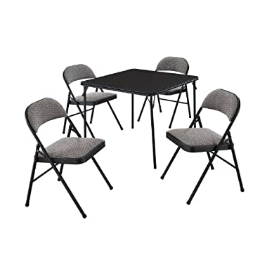 Meco 5-Piece Folding Table and Chair Set, Black Lace Frame and Courtyard Upholstery