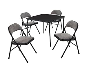 Amazon Com Meco 5 Piece Folding Table And Chair Set
