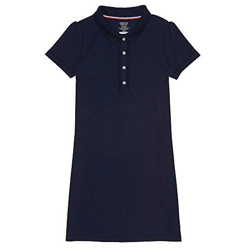 French Toast Girls' Big Short Sleeve Ruffle Placket Polo Dress, Navy, M (7/8) by French Toast