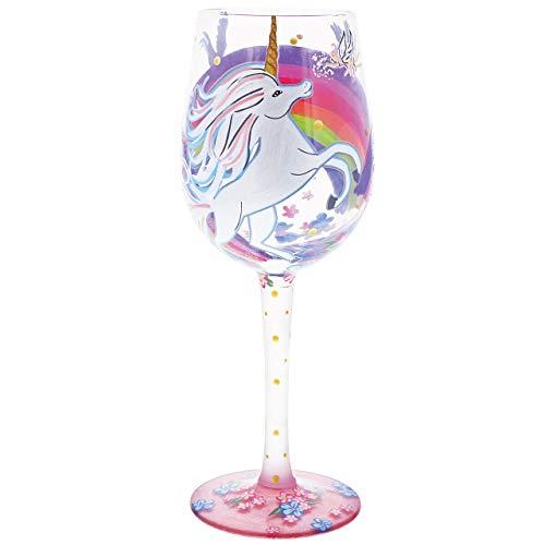 (Enesco Designs by Lolita Unicorn Artisan-blown Glass Wine Glass, 15 oz.)