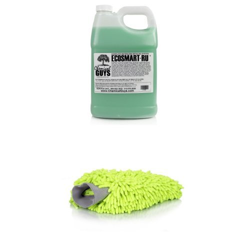 Chemical Guys EcoSmart-RU Ready to Use Waterless Car Wash and Wax and Wash Mitt Bundle