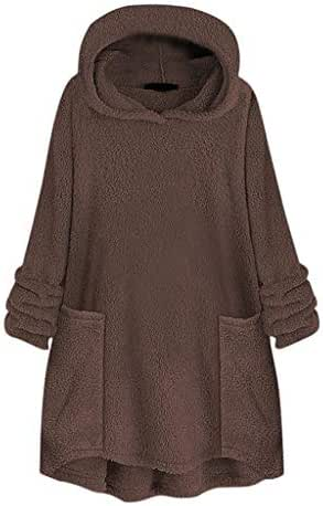 Overcoat for Women Winter Pure Color Hooded Collar Pocket Hat Woolen Sweater Tops Fashion Casual Loose Outwear