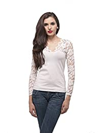Plus Size V Neck Long sleeve top with lace insert on sleeves