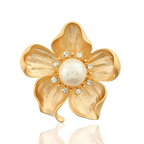 Dwcly Beautiful Women's Peach Flower White Pearl Brooch Gold Plate Fashion Pins Wedding Bridal Bouquet Party Daily Accessory