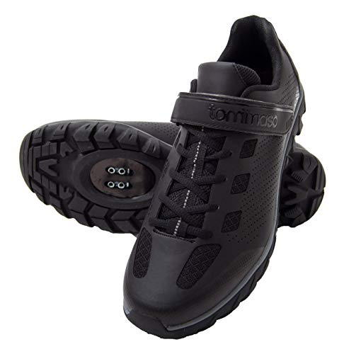 tommaso Roma - Shoe of The Month - Men's Urban Commuter, Spinning, Multi-Use Cycling Shoes - 48 Black/Grey