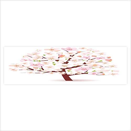 (Auraisehome Decorative Aquarium Background Poster Stylized Blossoming Spring Tree Aquarium Sticker Wallpaper Decoration 29.5