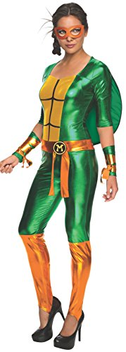 Tmnt Costumes Womens (Secret Wishes Women's Teenage Mutant Ninja Turtles Michelangelo Costume Jumpsuit, Multi, Large)