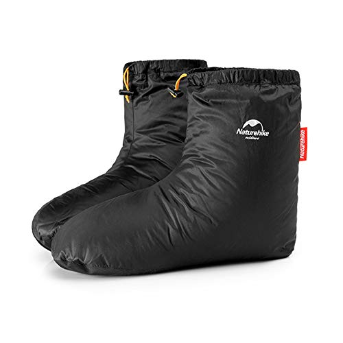 Tentock Ultralight Winter Goose Down Booties Socks Slippers Warm Soft Cozy Water-Resistant for Camping Backpacking Indoor Down Filled Slipper Boots with Storage Bag