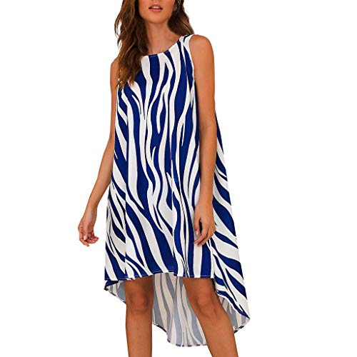 Witspace Women sleeveless Casual O-neck Pullover Irregular Hem Striped Shirt Dress