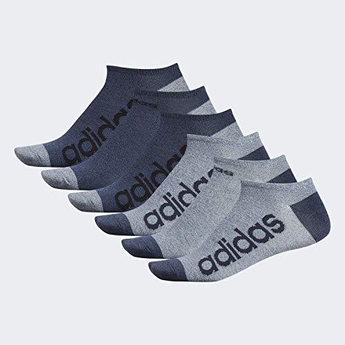 adidas Men's Superlite Linear No Show Socks (6-Pair), Ash Silver - Tech Ink Grey Marl/Legend Ink Blue - Tech, Large, (Shoe Size 6-12) (Silver No Show Socks)