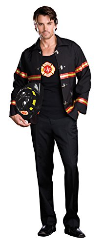 Dreamgirl Men's Smoking Hot Fireman Costume, Black/Red, X-Large (Mens Sexy Firefighter Costume)