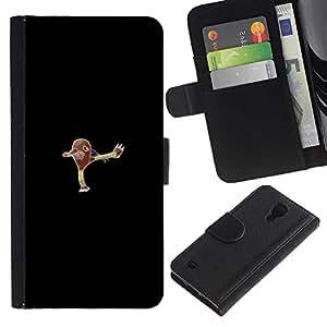 LECELL--Cuero de la tarjeta la carpeta del tirón Smartphone Slots Protección Holder For Samsung Galaxy S4 IV I9500 -- Empuje Monter Marrón --