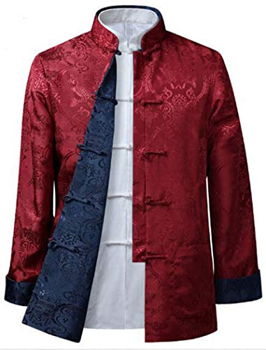 GoodOrient Man's Silk AB Reversible Shanghai Tang Jacket (M, RED+Blue) -