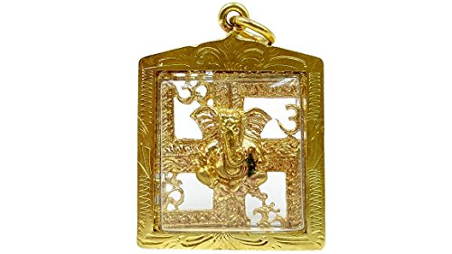 Lord ganesh gold case with gold hanger god of beginning success strong life protection hindu pendant