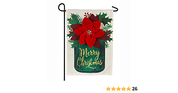 Amazon Com Evergreen Flag Poinsettia Mason Jar Linen Garden Flag 12 5 X 18 Inches Outdoor Decor For Homes And Gardens Garden Outdoor