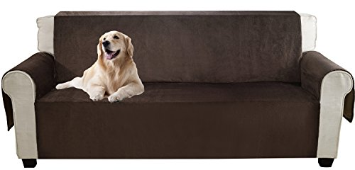 YEMYHOM Real Non-slip Pet Dog Sofa Covers Protectors with Waterproof Flannel Fabric (Loveseat, Coffee) (Leather Sofa With Fabric Seat Cushions)