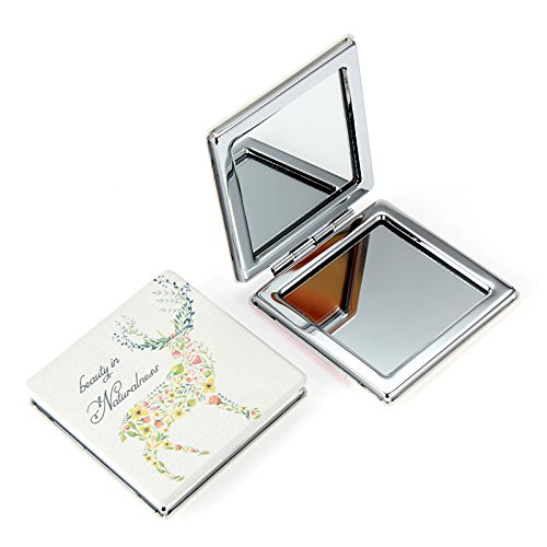 Womens Doodle Design Compact Pocket Mirror Set 2× Magnification + 1× Mirror, Pocket-size, Travel Mirror (FLOWER) BAIZHUANG