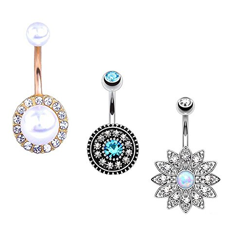 Udobuy New Summer Sandbeach Style Belly Ring 316L Surgical Steel Blue Crystal Starfish Conch Shell Long Dangle Navel Belly Ring Body Piercing Reverse Sexy Navel Rings (3 Pcs - Summer New Styles