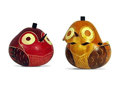 Sanyork Wholesale Three Colorful Gourd Bird Boxes Hand Carved Peru Fair Trade004399