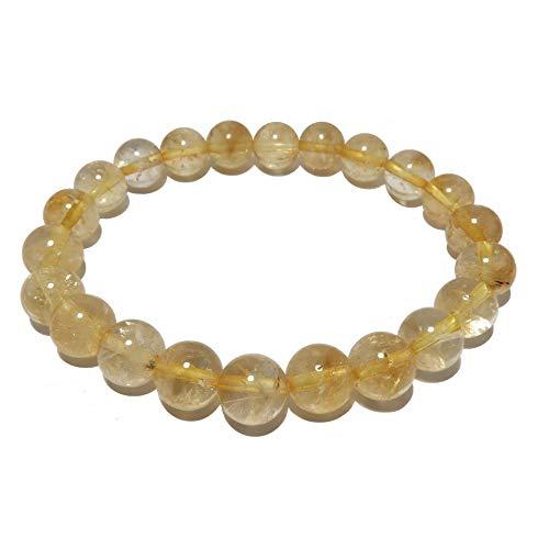 SatinCrystals Citrine Bracelet Boutique Yellow Round Gemstone Stretch Crystal Healing Handmade B01 (7.75