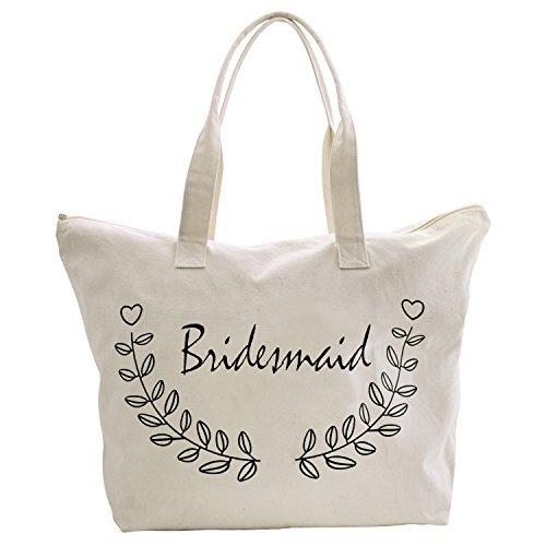 ElegantPark Bridesmaid Tote Bag for Wedding Gifts Zip Canvas 100% Cotton 1 Pcs]()