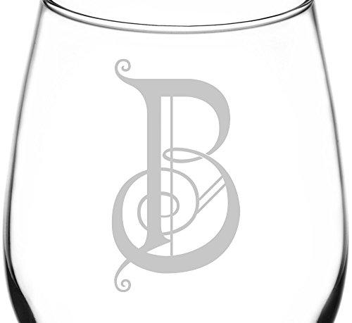 (Monogrammed B) Swirly Music Note Symbol Monogram Inspired - Laser Engraved 12.75oz Libbey All-Purpose Wine Taster Glass (Stopper Glass Wine Monogram)