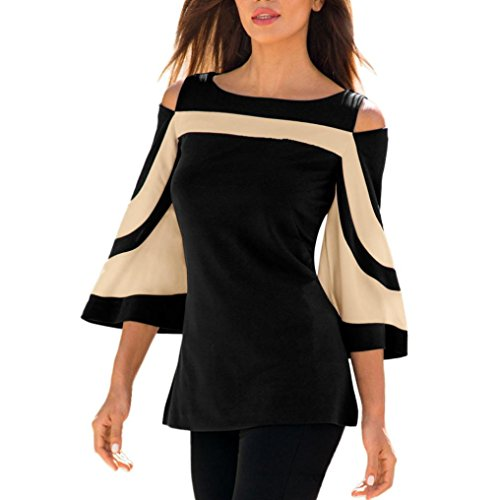 Greatgiftlist Women Flare Bell Sleeve Cold Shoulder Tight Tops Cut Out Elegant Shirt Curve Blouse (Black, XL) (Charming Bell)