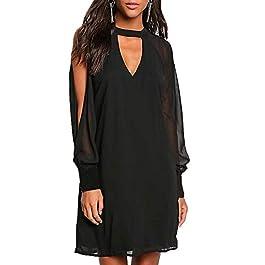 YOINS Women Long Sleeves Button Dress V Neck Chiffon Dresses Elastic Waist Casual Loose Dress