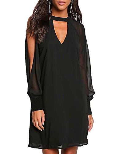 YOINS Cold Shoulder Long Sleeve Mini Dress for Women Sexy Chocker V Neck Chiffon Tunic Dresses Black M