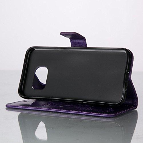 Funda Samsung Galaxy S7 EDGE OuDu Carcasa de Billetera Casco Patrón de Gofrado Caja Elegante Flor&Mariposa Funda PU Cuero Carcasa Suave Protectora con Correas de Teléfono Funda Arbol Flip Wallet Case  Púrpura