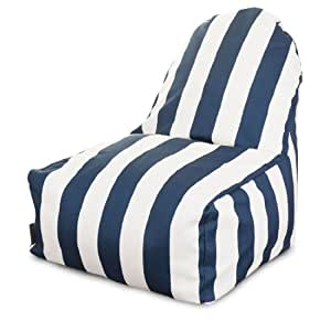 Majestic Home Goods Navy Blue Vertical Stripe Kick-It Chair