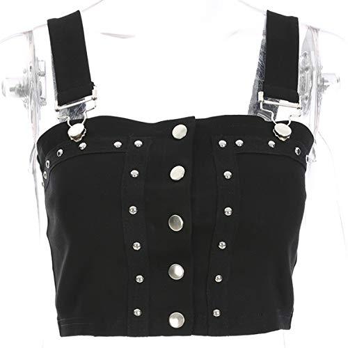 Clubwear Espagueti Mujer Correa Tops Chaleco Black Sin Atractivo Mangas Crop Botón Camiseta XHpWvnaa