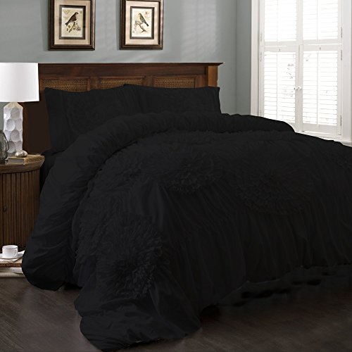 BRIGHTLINEN 3PCs Flower Ruffle Duvet Set (Black , Queen XL) 100% Egyptian Cotton Hotel Quality 300 Thread Count