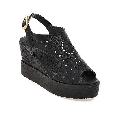 Bouche Occasionnels Femmes Poisson Sandales Sauvage du Chaussures Boucle Black Pente Creux wCEqq