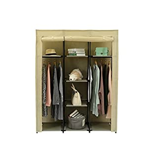 JEROAL Closet Wardrobe Portable Clothes Storage Organizer with Metal Shelves and Dustproof Non-Woven Fabric Cover
